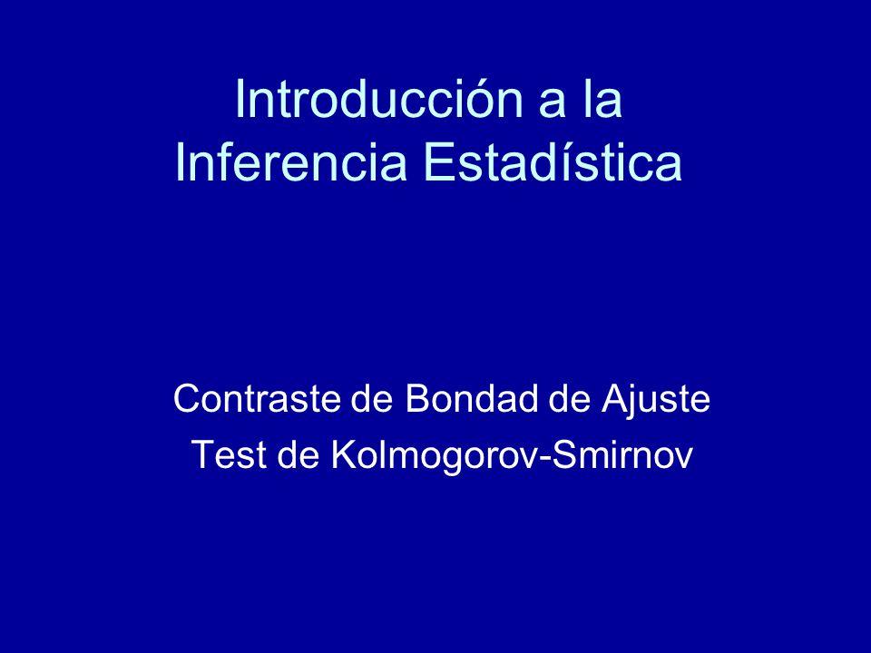 Introducción a la Inferencia Estadística Contraste de Bondad de Ajuste Test de Kolmogorov-Smirnov