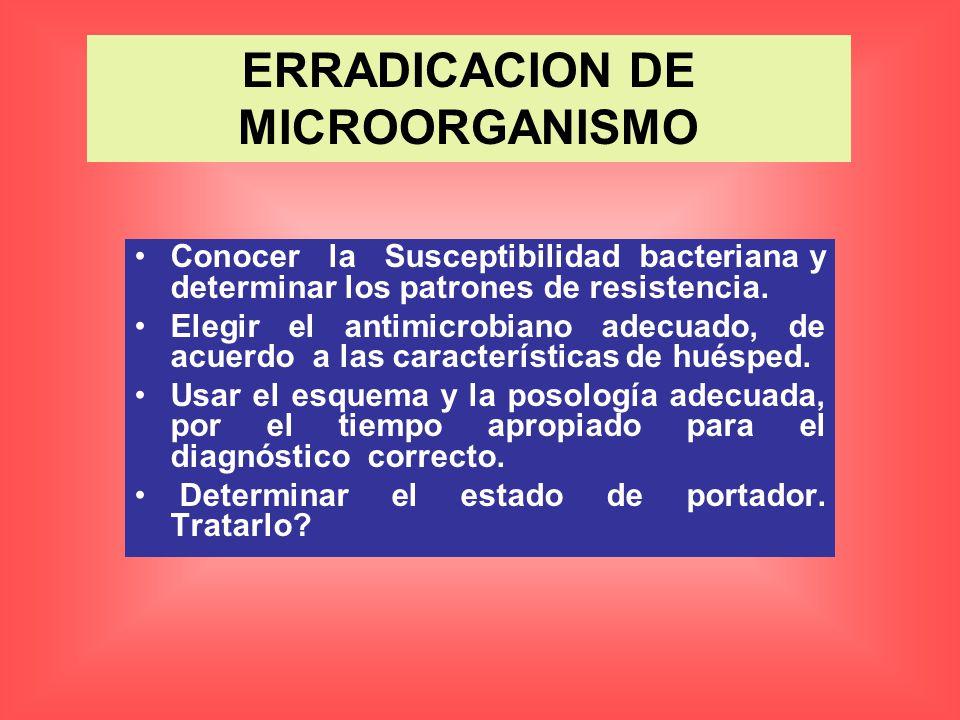 Conocer la Susceptibilidad bacteriana y determinar los patrones de resistencia. Elegir el antimicrobiano adecuado, de acuerdo a las características de
