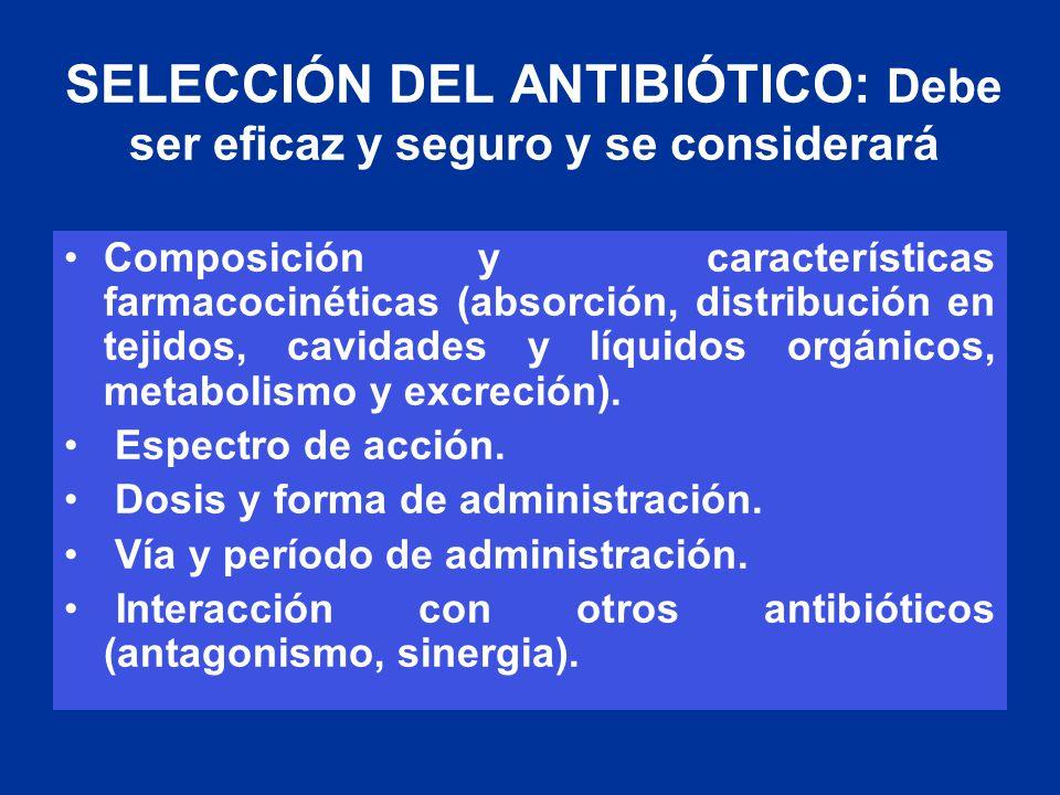 SELECCIÓN DEL ANTIBIÓTICO: Debe ser eficaz y seguro y se considerará Composición y características farmacocinéticas (absorción, distribución en tejido