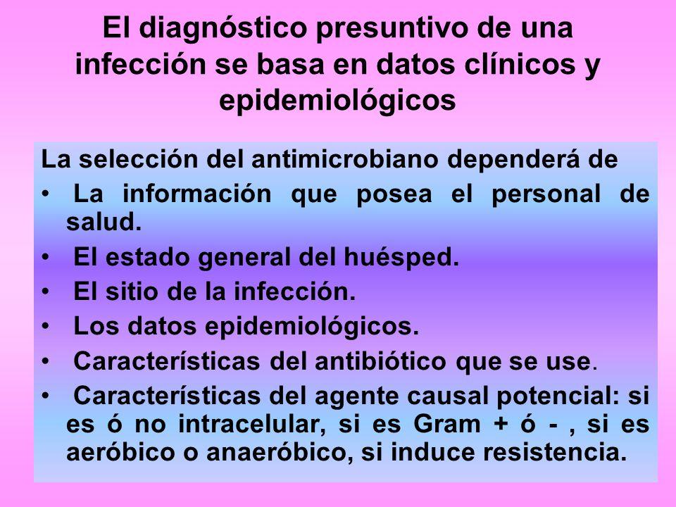 El diagnóstico presuntivo de una infección se basa en datos clínicos y epidemiológicos La selección del antimicrobiano dependerá de La información que