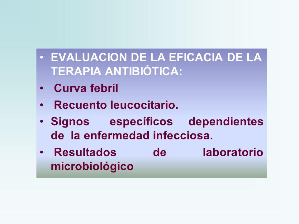 EVALUACION DE LA EFICACIA DE LA TERAPIA ANTIBIÓTICA: Curva febril Recuento leucocitario. Signos específicos dependientes de la enfermedad infecciosa.