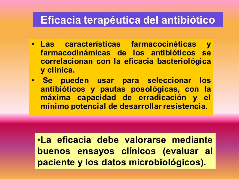Las características farmacocinéticas y farmacodinámicas de los antibióticos se correlacionan con la eficacia bacteriológica y clínica. Se pueden usar