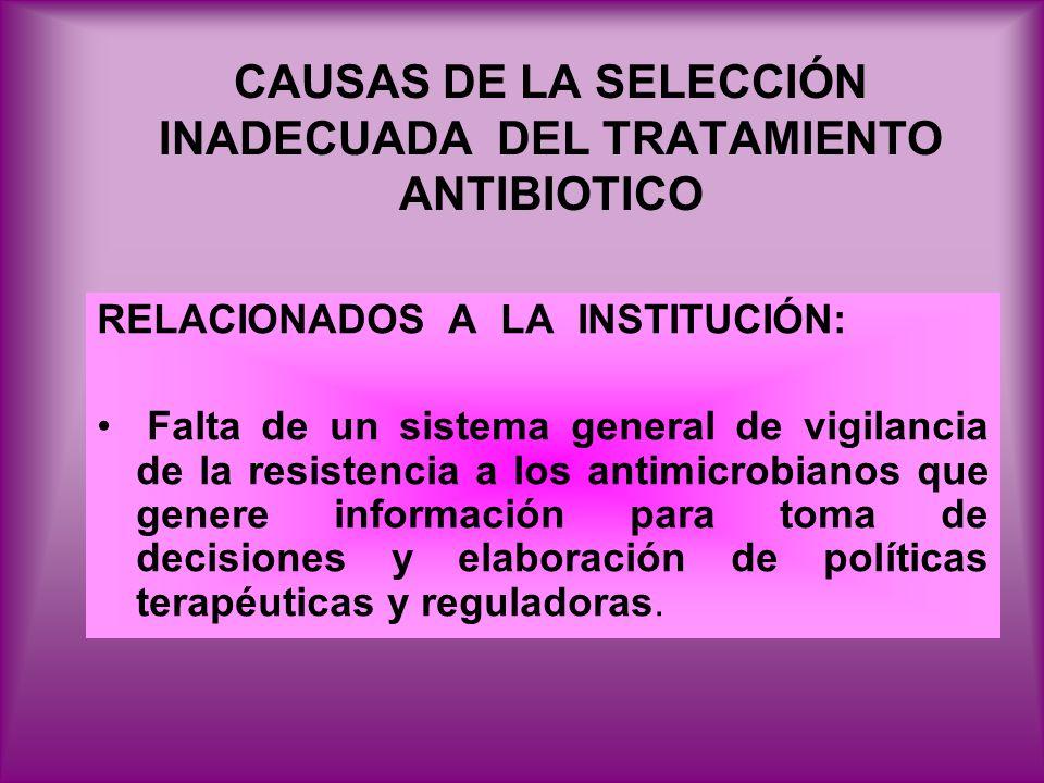 CAUSAS DE LA SELECCIÓN INADECUADA DEL TRATAMIENTO ANTIBIOTICO RELACIONADOS A LA INSTITUCIÓN: Falta de un sistema general de vigilancia de la resistenc