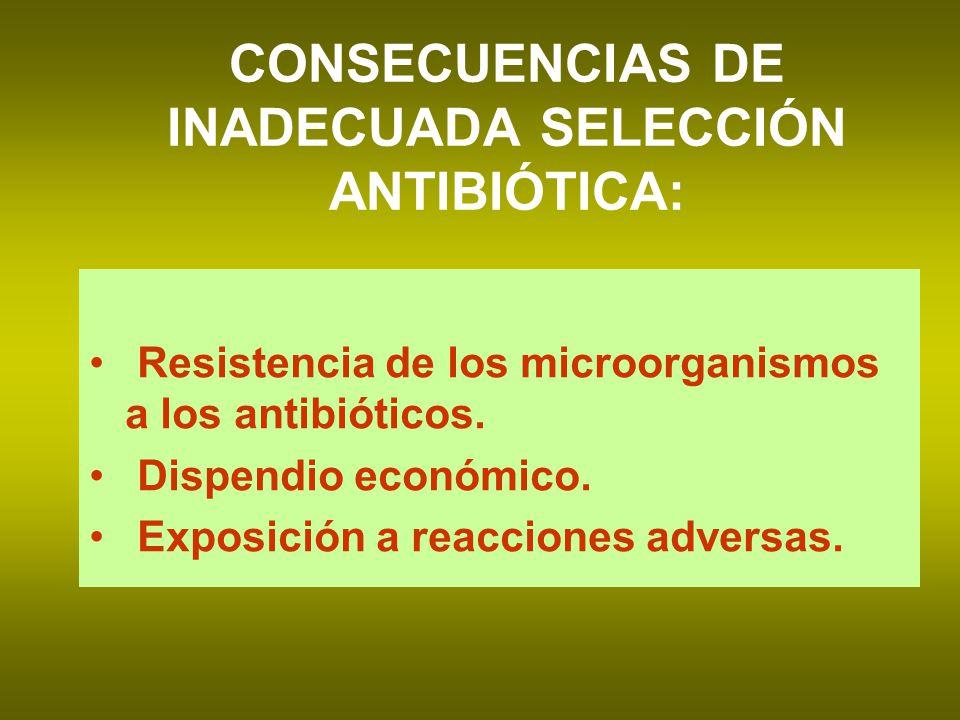 CONSECUENCIAS DE INADECUADA SELECCIÓN ANTIBIÓTICA: Resistencia de los microorganismos a los antibióticos. Dispendio económico. Exposición a reacciones