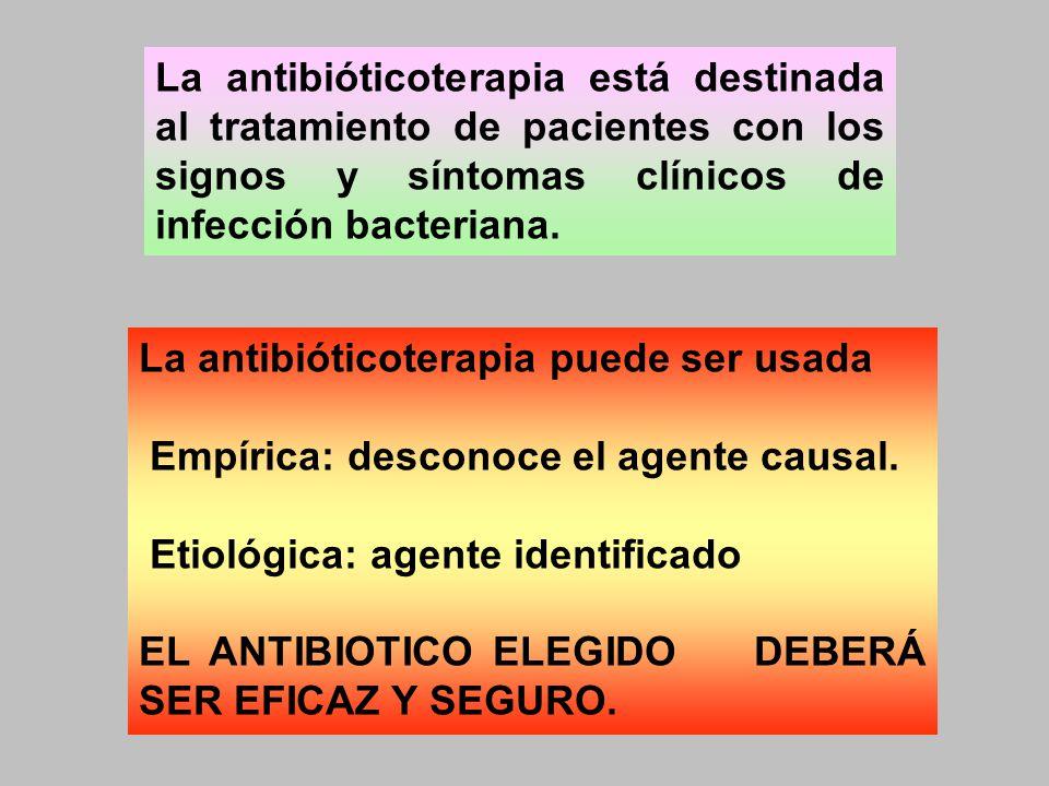 La antibióticoterapia está destinada al tratamiento de pacientes con los signos y síntomas clínicos de infección bacteriana. La antibióticoterapia pue