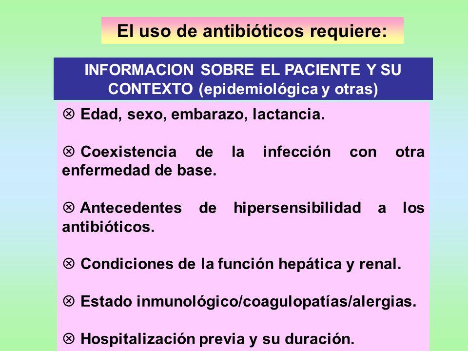 El uso de antibióticos requiere: INFORMACION SOBRE EL PACIENTE Y SU CONTEXTO (epidemiológica y otras) Edad, sexo, embarazo, lactancia. Coexistencia de