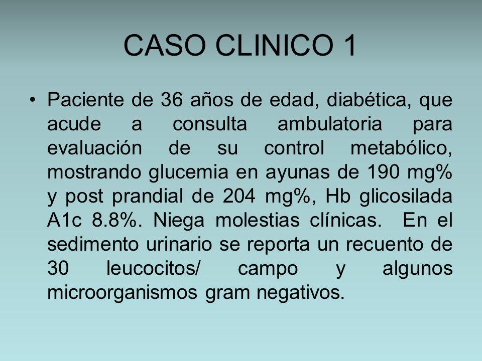 CASO CLINICO 1 Paciente de 36 años de edad, diabética, que acude a consulta ambulatoria para evaluación de su control metabólico, mostrando glucemia e