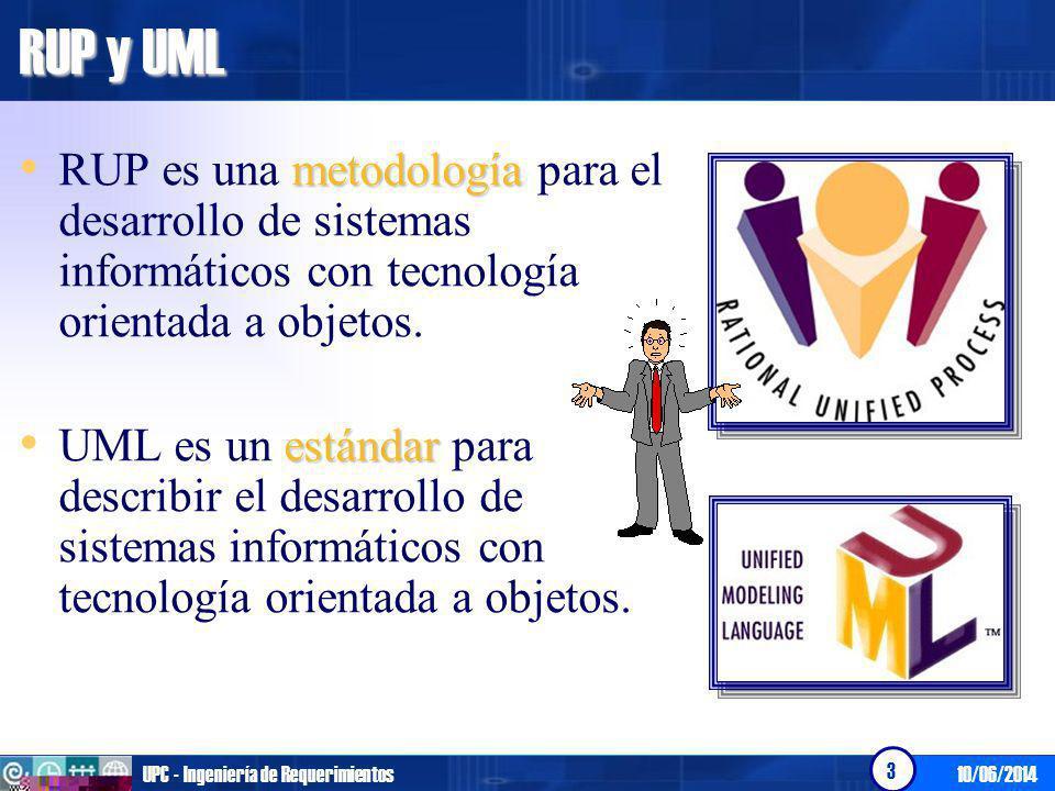 10/06/2014UPC - Ingeniería de Requerimientos 3 RUP y UML metodología RUP es una metodología para el desarrollo de sistemas informáticos con tecnología orientada a objetos.