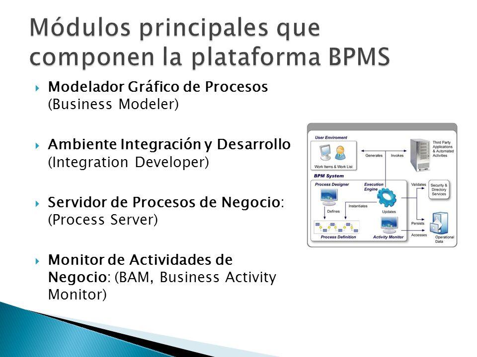Modelador Gráfico de Procesos (Business Modeler) Ambiente Integración y Desarrollo (Integration Developer) Servidor de Procesos de Negocio: (Process Server) Monitor de Actividades de Negocio: (BAM, Business Activity Monitor)