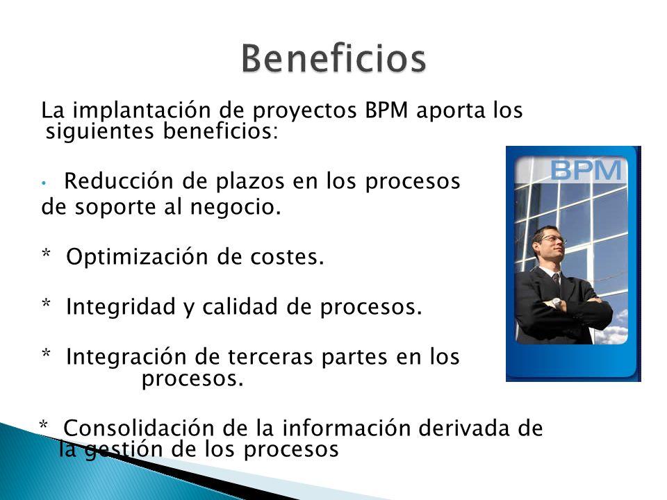 La implantación de proyectos BPM aporta los siguientes beneficios: Reducción de plazos en los procesos de soporte al negocio.