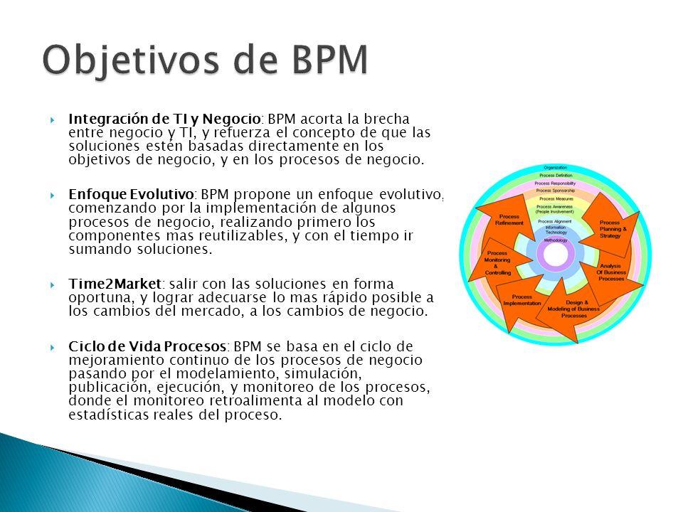 Integración de TI y Negocio: BPM acorta la brecha entre negocio y TI, y refuerza el concepto de que las soluciones estén basadas directamente en los objetivos de negocio, y en los procesos de negocio.
