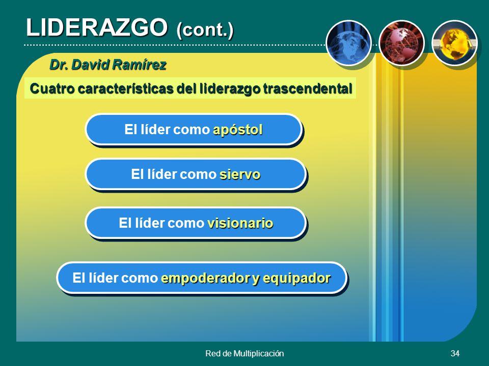 Red de Multiplicación34 LIDERAZGO (cont.) Cuatro características del liderazgo trascendental apóstol El líder como apóstol siervo El líder como siervo