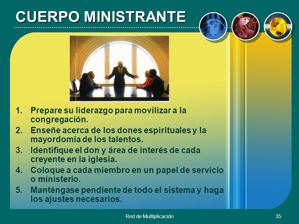Red de Multiplicación35 CUERPO MINISTRANTE 1.Prepare su liderazgo para movilizar a la congregación. 2.Enseñe acerca de los dones espirituales y la may
