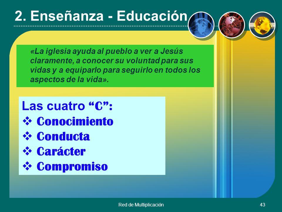 Red de Multiplicación43 2. Enseñanza - Educación «La iglesia ayuda al pueblo a ver a Jesús claramente, a conocer su voluntad para sus vidas y a equipa