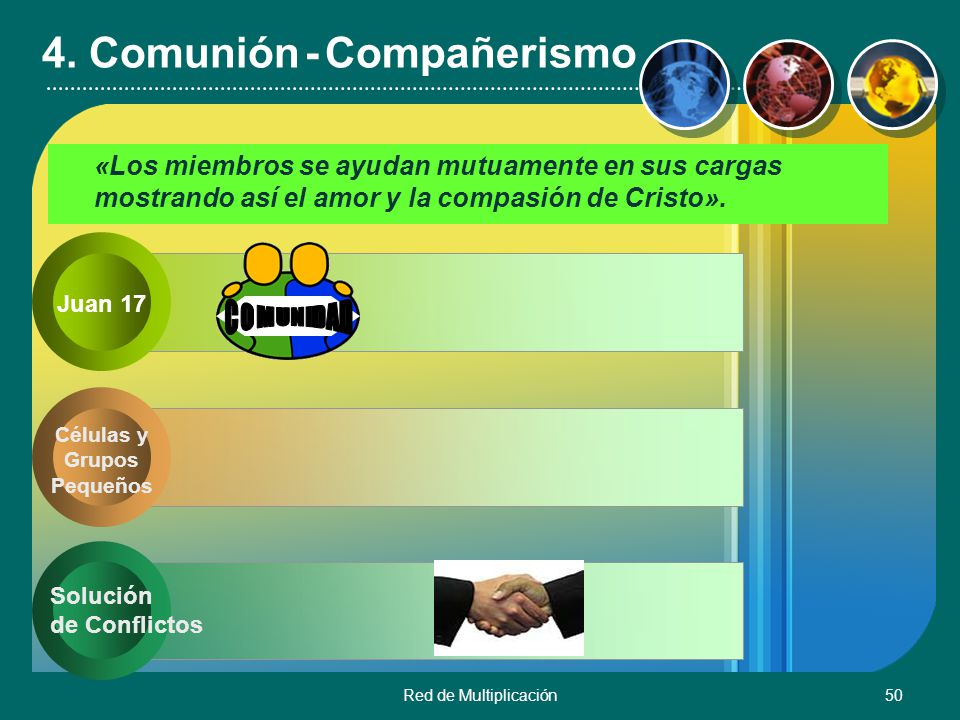 Red de Multiplicación50 4. Comunión - Compañerismo «Los miembros se ayudan mutuamente en sus cargas mostrando así el amor y la compasión de Cristo». C