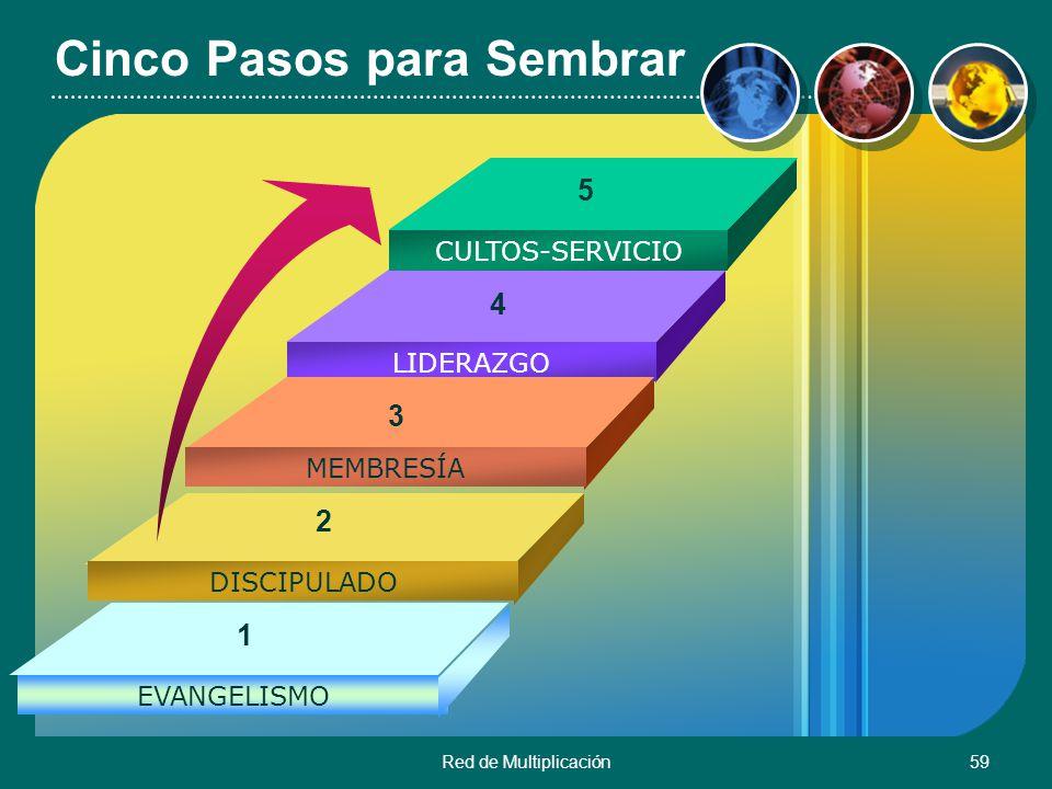 Red de Multiplicación59 Cinco Pasos para Sembrar CULTOS-SERVICIO LIDERAZGO MEMBRESÍA DISCIPULADO EVANGELISMO 1 2 3 4 5