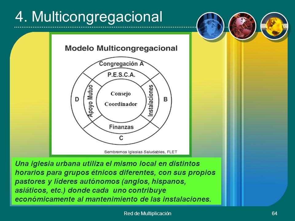 Red de Multiplicación64 4. Multicongregacional Una iglesia urbana utiliza el mismo local en distintos horarios para grupos étnicos diferentes, con sus