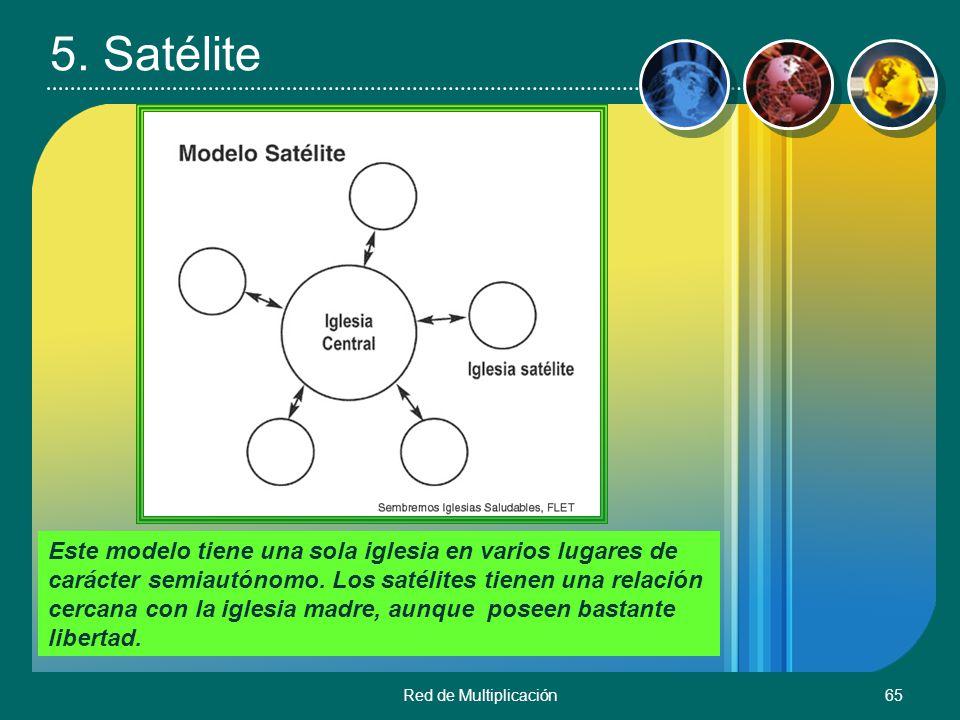 Red de Multiplicación65 5. Satélite Este modelo tiene una sola iglesia en varios lugares de carácter semiautónomo. Los satélites tienen una relación c