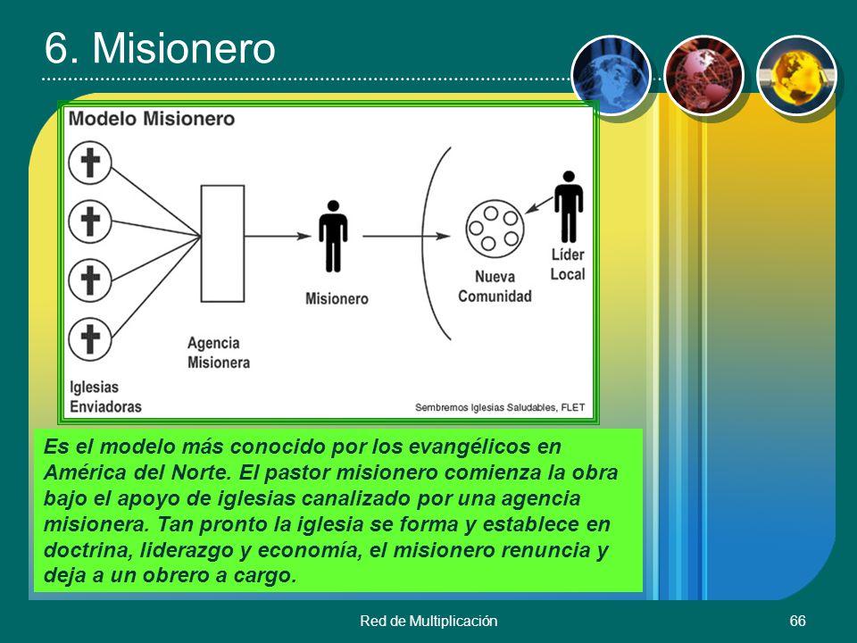 Red de Multiplicación66 6. Misionero Es el modelo más conocido por los evangélicos en América del Norte. El pastor misionero comienza la obra bajo el