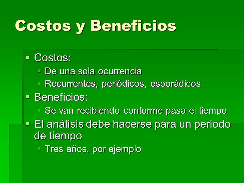 Costos y Beneficios Costos: Costos: De una sola ocurrencia De una sola ocurrencia Recurrentes, periódicos, esporádicos Recurrentes, periódicos, esporá