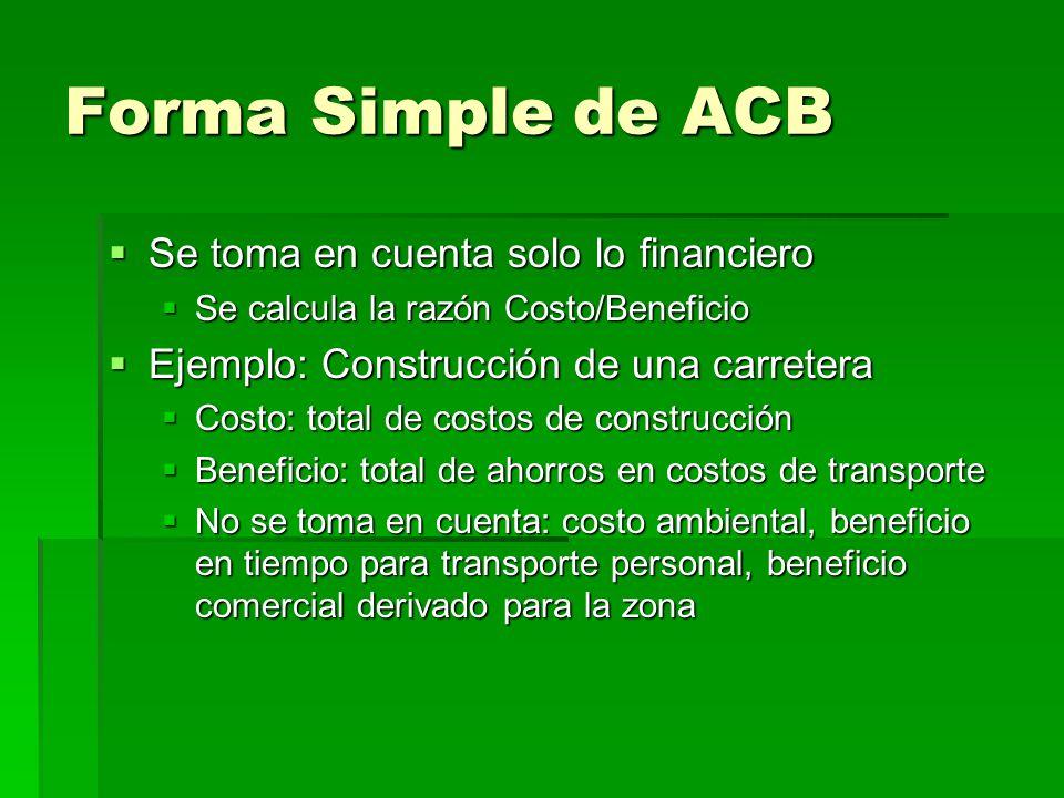 Forma Simple de ACB Se toma en cuenta solo lo financiero Se toma en cuenta solo lo financiero Se calcula la razón Costo/Beneficio Se calcula la razón