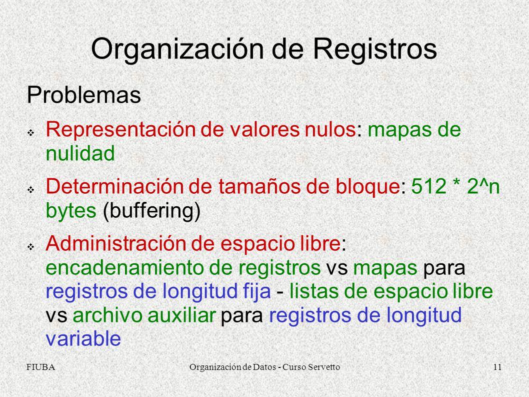 FIUBAOrganización de Datos - Curso Servetto11 Organización de Registros Problemas Representación de valores nulos: mapas de nulidad Determinación de tamaños de bloque: 512 * 2^n bytes (buffering) Administración de espacio libre: encadenamiento de registros vs mapas para registros de longitud fija - listas de espacio libre vs archivo auxiliar para registros de longitud variable