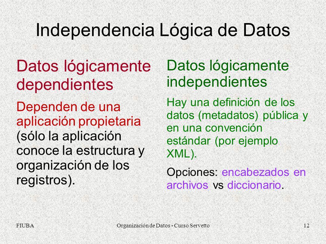 FIUBAOrganización de Datos - Curso Servetto12 Independencia Lógica de Datos Datos lógicamente dependientes Dependen de una aplicación propietaria (sólo la aplicación conoce la estructura y organización de los registros).