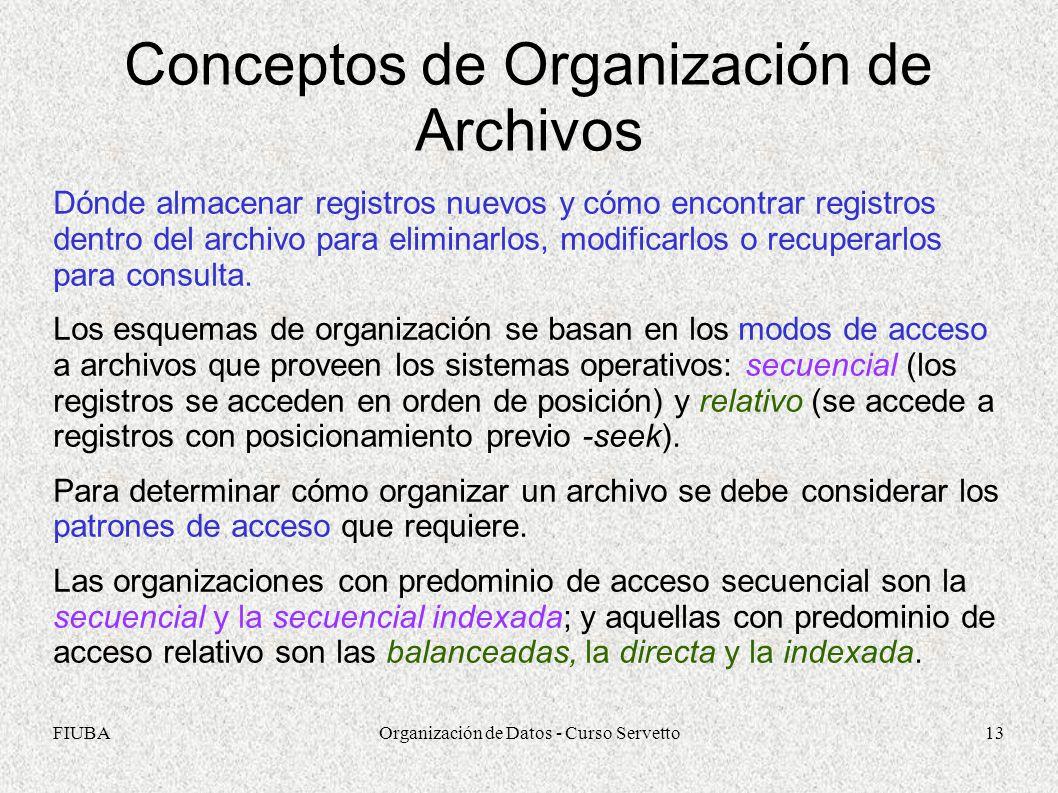 FIUBAOrganización de Datos - Curso Servetto13 Conceptos de Organización de Archivos Dónde almacenar registros nuevos y cómo encontrar registros dentro del archivo para eliminarlos, modificarlos o recuperarlos para consulta.