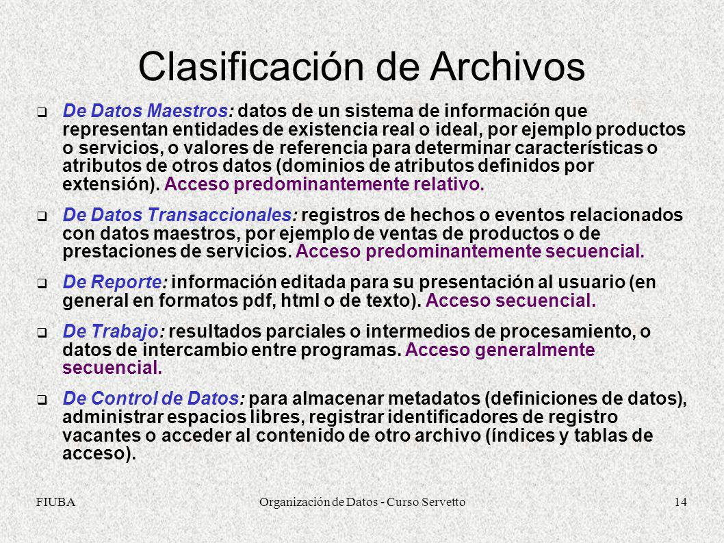 FIUBAOrganización de Datos - Curso Servetto14 Clasificación de Archivos De Datos Maestros: datos de un sistema de información que representan entidades de existencia real o ideal, por ejemplo productos o servicios, o valores de referencia para determinar características o atributos de otros datos (dominios de atributos definidos por extensión).