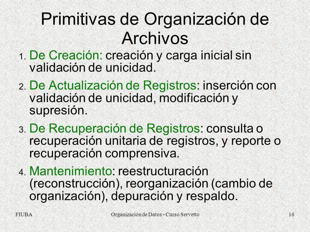 FIUBAOrganización de Datos - Curso Servetto16 Primitivas de Organización de Archivos 1.