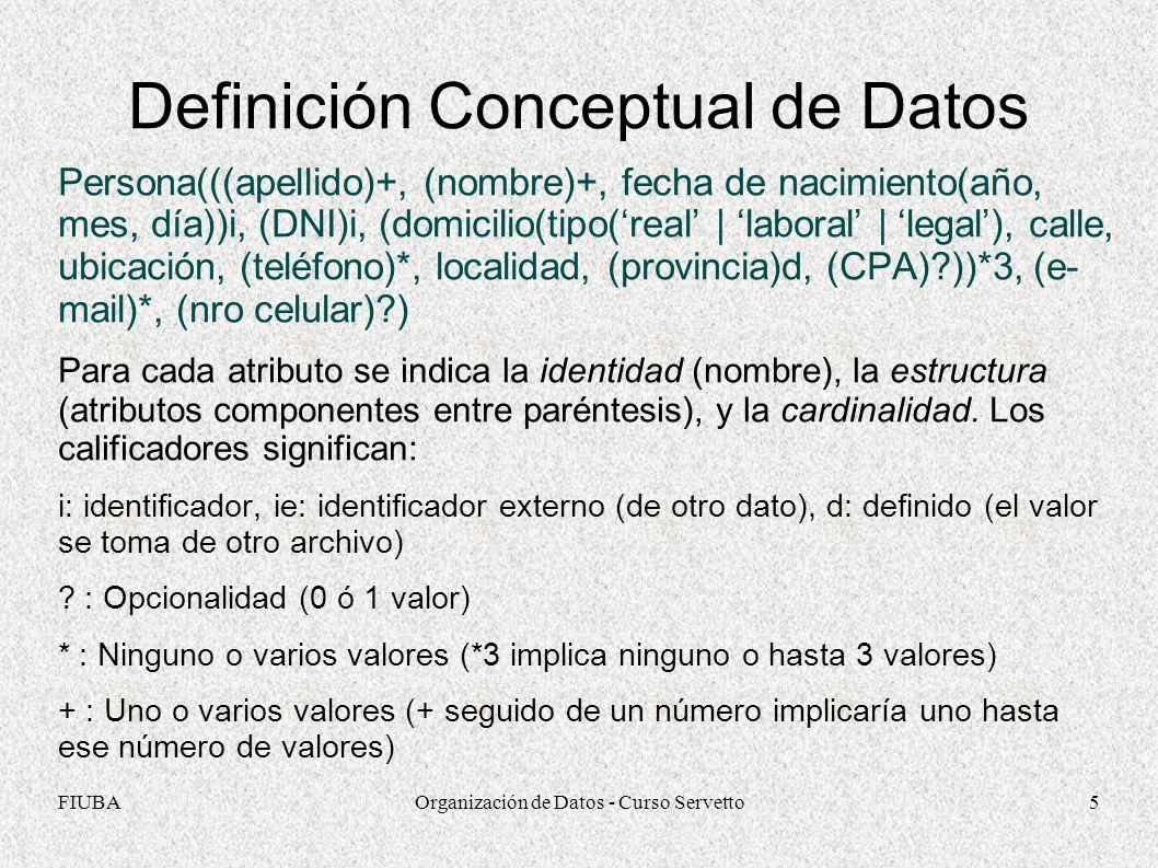 FIUBAOrganización de Datos - Curso Servetto5 Definición Conceptual de Datos Persona(((apellido)+, (nombre)+, fecha de nacimiento(año, mes, día))i, (DNI)i, (domicilio(tipo(real | laboral | legal), calle, ubicación, (teléfono)*, localidad, (provincia)d, (CPA)?))*3, (e- mail)*, (nro celular)?) Para cada atributo se indica la identidad (nombre), la estructura (atributos componentes entre paréntesis), y la cardinalidad.
