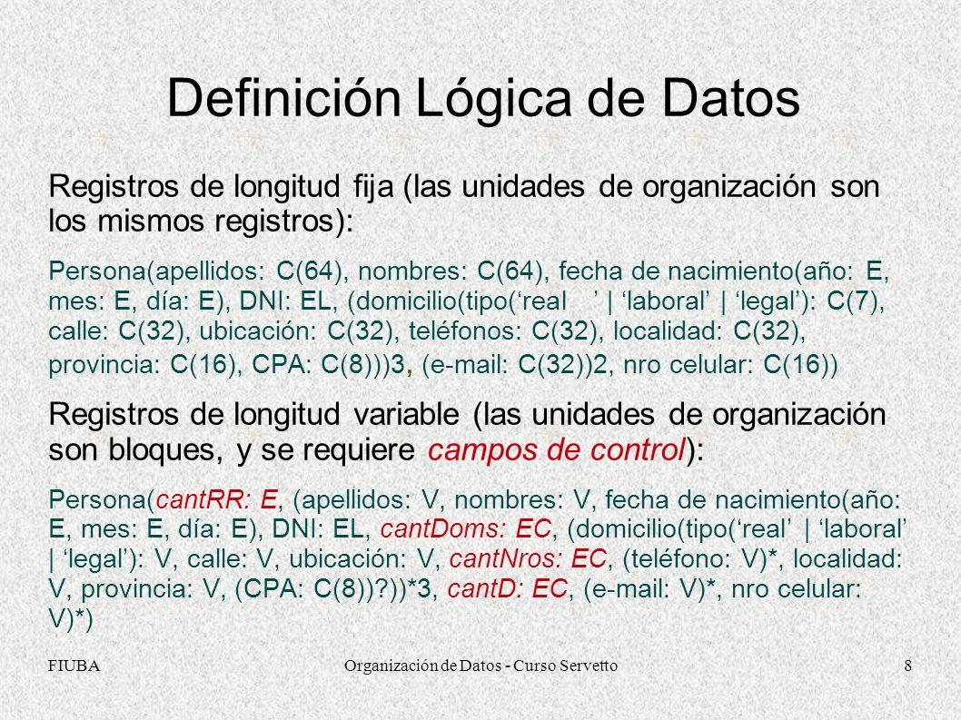 FIUBAOrganización de Datos - Curso Servetto8 Definición Lógica de Datos Registros de longitud fija (las unidades de organización son los mismos registros): Persona(apellidos: C(64), nombres: C(64), fecha de nacimiento(año: E, mes: E, día: E), DNI: EL, (domicilio(tipo(real | laboral | legal): C(7), calle: C(32), ubicación: C(32), teléfonos: C(32), localidad: C(32), provincia: C(16), CPA: C(8)))3, (e-mail: C(32))2, nro celular: C(16)) Registros de longitud variable (las unidades de organización son bloques, y se requiere campos de control): Persona(cantRR: E, (apellidos: V, nombres: V, fecha de nacimiento(año: E, mes: E, día: E), DNI: EL, cantDoms: EC, (domicilio(tipo(real | laboral | legal): V, calle: V, ubicación: V, cantNros: EC, (teléfono: V)*, localidad: V, provincia: V, (CPA: C(8))?))*3, cantD: EC, (e-mail: V)*, nro celular: V)*)