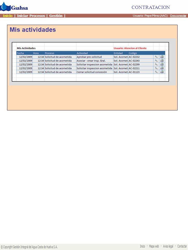 Mis actividades Usuario: Pepe Pérez (AAC) Desconectar CONTRATACION Procesos contratación Procesos RSU Otros procesos Inicio | Iniciar Procesos | Gestión |