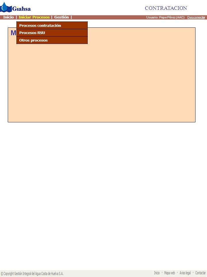 Mis actividades Usuario: Pepe Pérez (AAC) Desconectar CONTRATACION Inicio | Iniciar Procesos | Gestión | Procesos contratación 1.Solicitud de concesion de acometida 2.Solicitud de ampliacion de acometida 3.Solicitud de acometida de alcantarillado 4.Solicitud de Alta de suministro 5.Solicitud de Baja de suministro 6.Solicitud de Cambio de titularidad 7.Solicitud de cambio de ubicacion 8.Solicitud de cambio de calibre del contador 9.Solicitud aplicación de tarifa de familia numerosa 10.Solicitud Verificación oficial contador 11.Solicitud mínimo por no estancia 12.Solicitud autorizacion de vertidos 13.Cargar Ubicaciones de una acometida 14.Inspeccion general de solicitud de acometida.