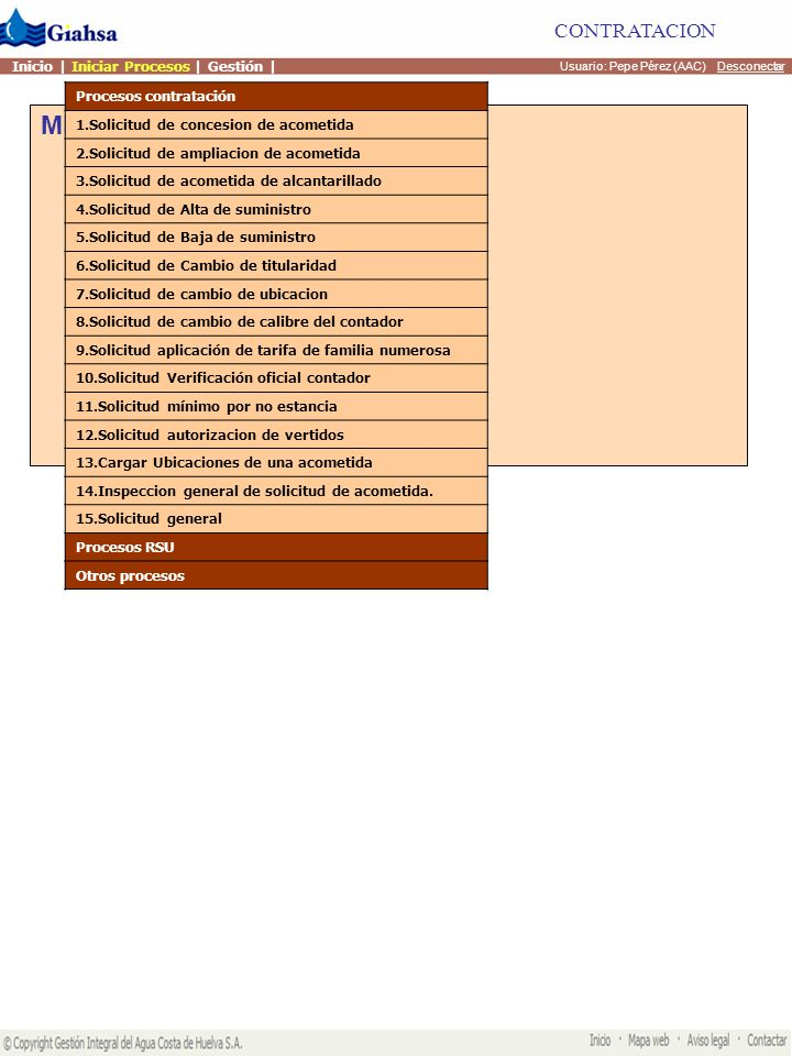 Mis actividades Usuario: Pepe Pérez (AAC) Desconectar CONTRATACION Inicio | Iniciar Procesos | Gestión | Procesos contratación Procesos RSU 1.Solicitud de Dotación inicial de contenedores 2.Solicitud de Dotación adicional de contenedores 3.Solicitud de Recogida excepcional de residuos 4.Solicitud de instalacion de contenedores específicos 5.Solicitud baja contenedores específicos Otros procesos