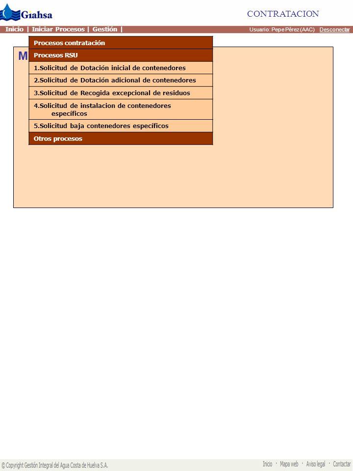 Mis actividades Usuario: Pepe Pérez (AAC) Desconectar CONTRATACION Inicio | Iniciar Procesos | Gestión | Procesos contratación Procesos RSU Otros procesos Reclamación contrato acometida Reclamacion contrato suministro Reclamacion general