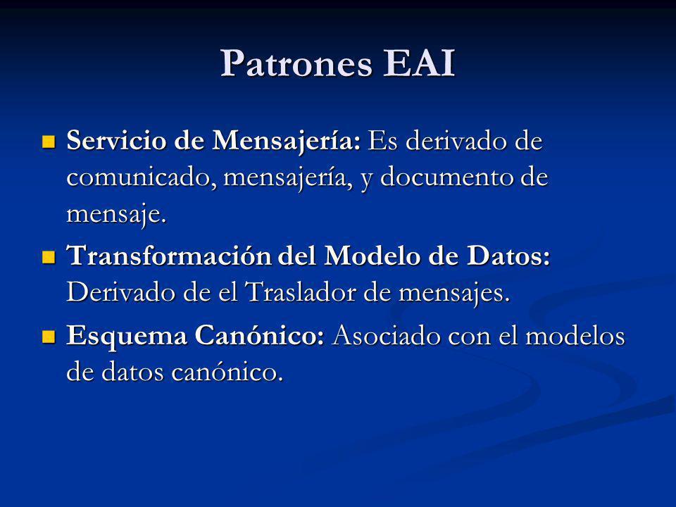 Patrones EAI Servicio de Mensajería: Es derivado de comunicado, mensajería, y documento de mensaje.