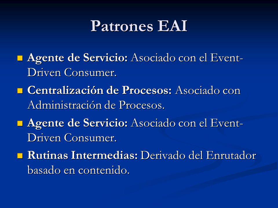 Patrones EAI Agente de Servicio: Asociado con el Event- Driven Consumer. Agente de Servicio: Asociado con el Event- Driven Consumer. Centralización de