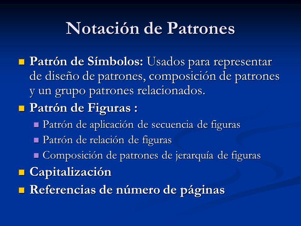 Notación de Patrones Patrón de Símbolos: Usados para representar de diseño de patrones, composición de patrones y un grupo patrones relacionados.