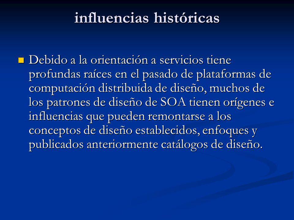 influencias históricas Debido a la orientación a servicios tiene profundas raíces en el pasado de plataformas de computación distribuida de diseño, mu