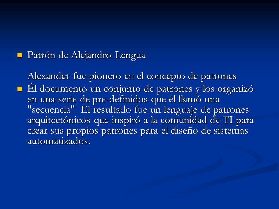 Patrón de Alejandro Lengua Alexander fue pionero en el concepto de patrones Patrón de Alejandro Lengua Alexander fue pionero en el concepto de patrones Él documentó un conjunto de patrones y los organizó en una serie de pre-definidos que él llamó una secuencia .