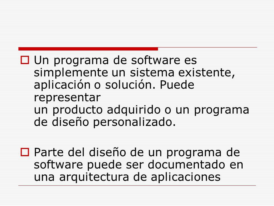 Un programa de software es simplemente un sistema existente, aplicación o solución. Puede representar un producto adquirido o un programa de diseño pe