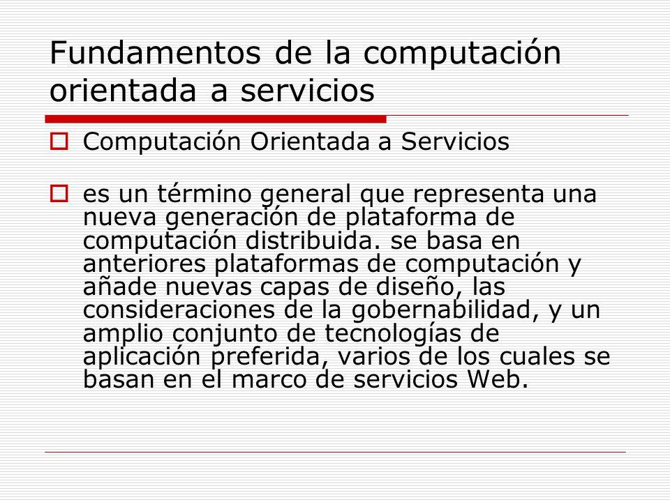 Fundamentos de la computación orientada a servicios Computación Orientada a Servicios es un término general que representa una nueva generación de pla