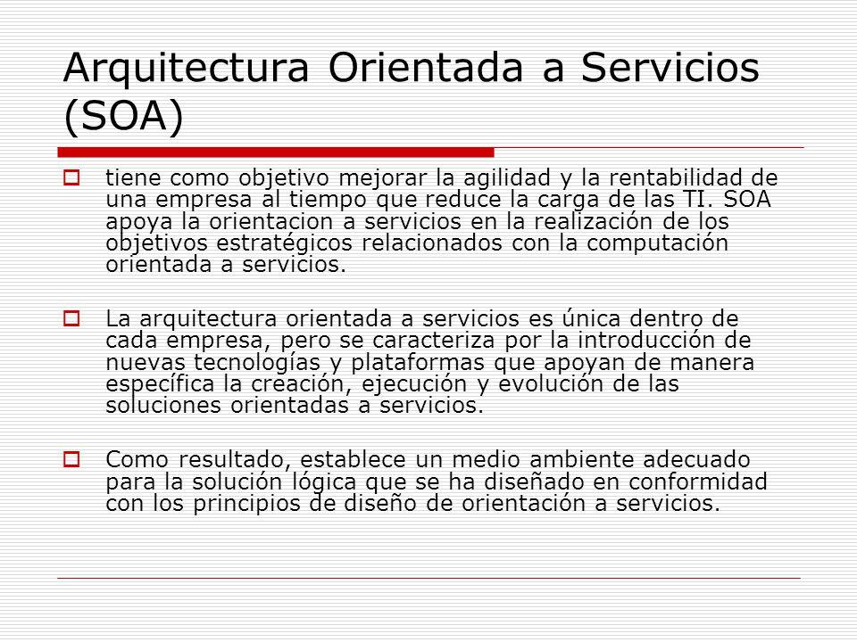 Arquitectura Orientada a Servicios (SOA) tiene como objetivo mejorar la agilidad y la rentabilidad de una empresa al tiempo que reduce la carga de las