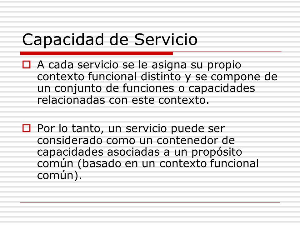 Capacidad de Servicio A cada servicio se le asigna su propio contexto funcional distinto y se compone de un conjunto de funciones o capacidades relaci
