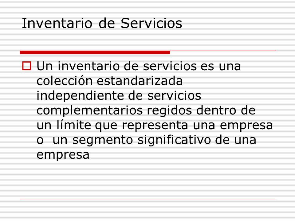 Inventario de Servicios Un inventario de servicios es una colección estandarizada independiente de servicios complementarios regidos dentro de un lími