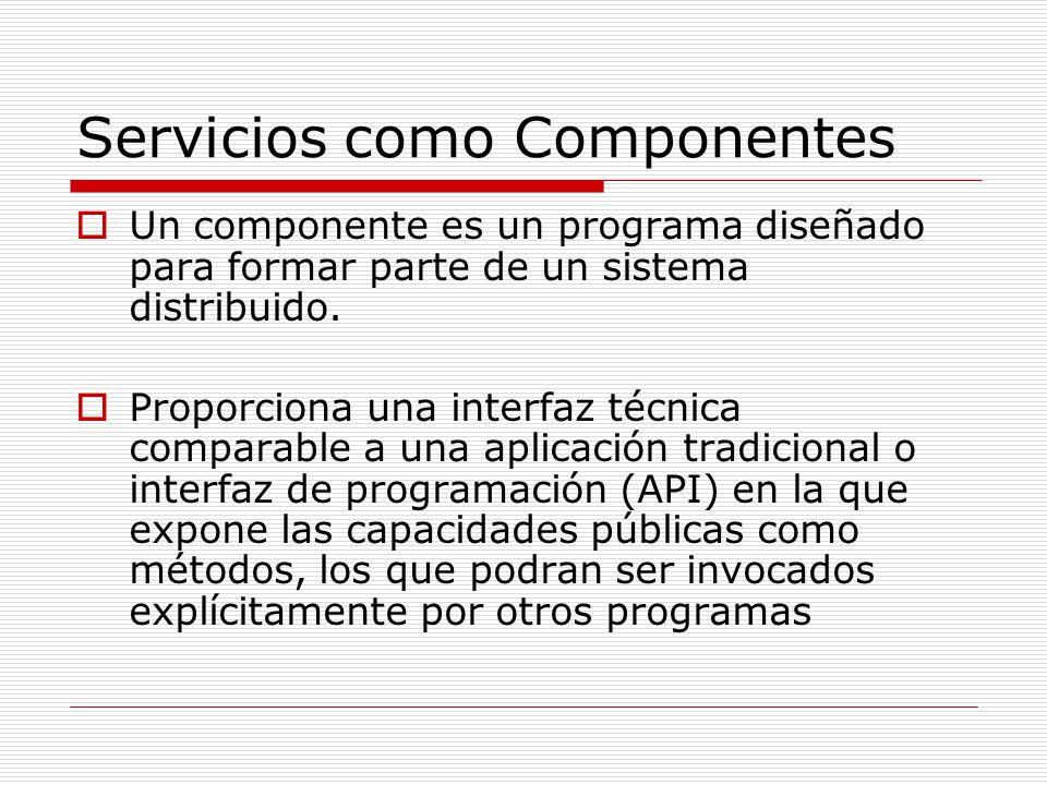 Servicios como Componentes Un componente es un programa diseñado para formar parte de un sistema distribuido. Proporciona una interfaz técnica compara