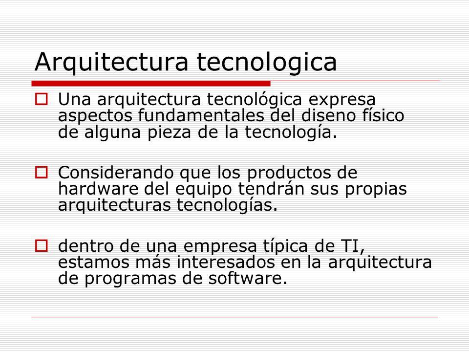 Arquitectura tecnologica Una arquitectura tecnológica expresa aspectos fundamentales del diseno físico de alguna pieza de la tecnología. Considerando