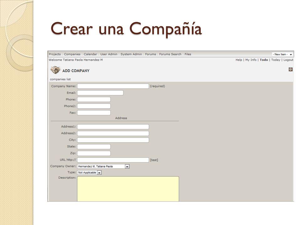 Crear una Compañía