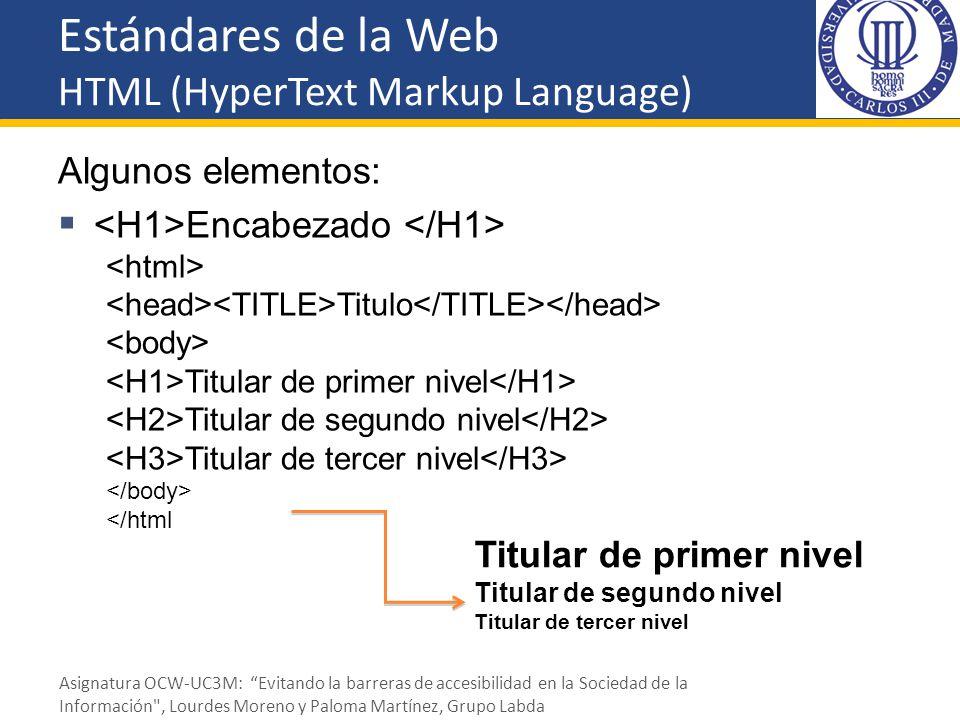 Estándares de la Web HTML (HyperText Markup Language) Algunos elementos: Encabezado Titulo Titular de primer nivel Titular de segundo nivel Titular de